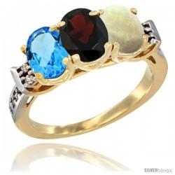 10K Yellow Gold Natural Swiss Blue Topaz, Garnet & Opal Ring 3-Stone Oval 7x5 mm Diamond Accent