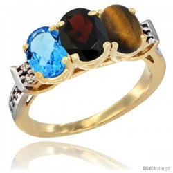 10K Yellow Gold Natural Swiss Blue Topaz, Garnet & Tiger Eye Ring 3-Stone Oval 7x5 mm Diamond Accent