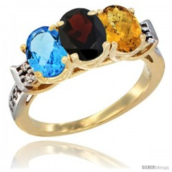 10K Yellow Gold Natural Swiss Blue Topaz, Garnet & Whisky Quartz Ring 3-Stone Oval 7x5 mm Diamond Accent