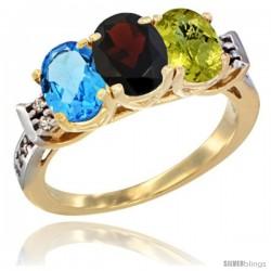 10K Yellow Gold Natural Swiss Blue Topaz, Garnet & Lemon Quartz Ring 3-Stone Oval 7x5 mm Diamond Accent