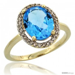 10k Yellow Gold Diamond Halo Blue Topaz Ring 2.4 carat Oval shape 10X8 mm, 1/2 in (12.5mm) wide