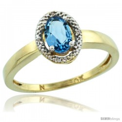 10k Yellow Gold Diamond Halo Blue Topaz Ring 0.75 Carat Oval Shape 6X4 mm, 3/8 in (9mm) wide