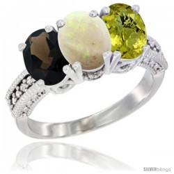 10K White Gold Natural Smoky Topaz, Opal & Lemon Quartz Ring 3-Stone Oval 7x5 mm Diamond Accent