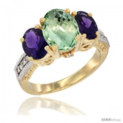 14K Yellow Gold Ladies 3-Stone Oval Natural Green Amethyst Ring with Amethyst Sides Diamond Accent