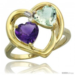 14k Yellow Gold 2-Stone Heart Ring 6mm Natural Amethyst & Green Amethyst Diamond Accent