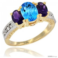 14k Yellow Gold Ladies Oval Natural Swiss Blue Topaz 3-Stone Ring with Amethyst Sides Diamond Accent