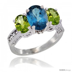 14K White Gold Ladies 3-Stone Oval Natural London Blue Topaz Ring with Peridot Sides Diamond Accent