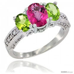 14k White Gold Ladies Oval Natural Pink Topaz 3-Stone Ring with Peridot Sides Diamond Accent