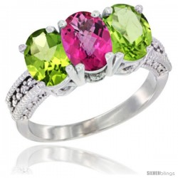 14K White Gold Natural Pink Topaz & Peridot Sides Ring 3-Stone 7x5 mm Oval Diamond Accent