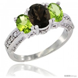 14k White Gold Ladies Oval Natural Smoky Topaz 3-Stone Ring with Peridot Sides Diamond Accent