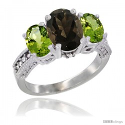 14K White Gold Ladies 3-Stone Oval Natural Smoky Topaz Ring with Peridot Sides Diamond Accent