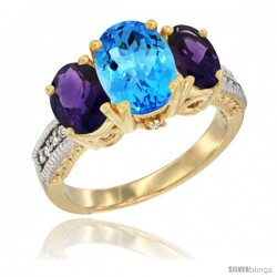 14K Yellow Gold Ladies 3-Stone Oval Natural Swiss Blue Topaz Ring with Amethyst Sides Diamond Accent