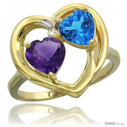 14k Yellow Gold 2-Stone Heart Ring 6mm Natural Amethyst & Swiss Blue Topaz Diamond Accent