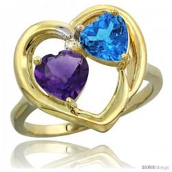 14k Yellow Gold 2-Stone Heart Ring 6mm Natural Amethyst & Swiss Blue Topaz Diamond Accent
