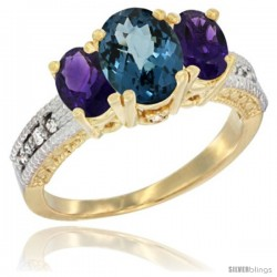 14k Yellow Gold Ladies Oval Natural London Blue Topaz 3-Stone Ring with Amethyst Sides Diamond Accent