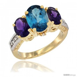 14K Yellow Gold Ladies 3-Stone Oval Natural London Blue Topaz Ring with Amethyst Sides Diamond Accent