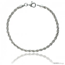 Sterling Silver Italian Rope Chain Necklaces & Bracelets 2.6 mm Diamond cut Nickel Free