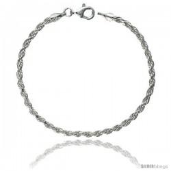 Sterling Silver Italian Rope Chain Necklaces & Bracelets 2.6 mm Diamond cut Nickel Free