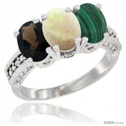 10K White Gold Natural Smoky Topaz, Opal & Malachite Ring 3-Stone Oval 7x5 mm Diamond Accent