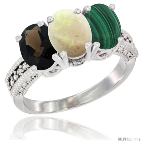 https://www.silverblings.com/1172-thickbox_default/10k-white-gold-natural-smoky-topaz-opal-malachite-ring-3-stone-oval-7x5-mm-diamond-accent.jpg