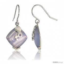 "Diamond-shaped Blue lace Agate Dangle Earrings in Sterling Silver, 11/16"" (18 mm) tall"