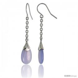 """Teardrop-shaped Blue lace Agate Dangle Earrings in Sterling Silver, 1 1/2"""" (38 mm) tall"""