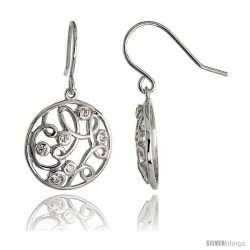 "Sterling Silver Round Filigree Dangle Earrings w/ Brilliant Cut CZ Stones, 3/4"" (19 mm) tall"