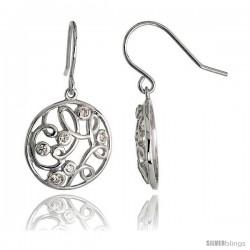 "Sterling Silver Round Filigree Dangle Earrings w/ Brilliant Cut CZ Stones, 3/4"" (19 mm) tall"