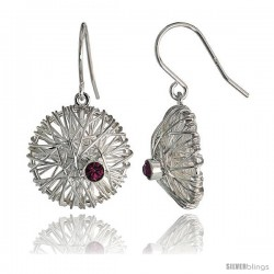"Sterling Silver Round Filigree Dangle Earrings w/ Brilliant Cut Amethyst-colored CZ Stone, 13/16"" (20 mm) tall"