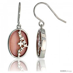 "Oval-shaped Pink Mother of Pearl Dangle Earrings in Sterling Silver, 3/4"" (19 mm) tall"