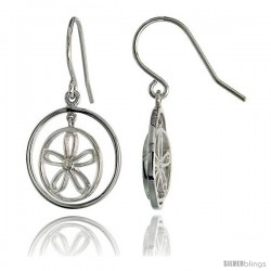 "High Polished Flower & Circles Dangle Earrings in Sterling Silver, w/ Brilliant Cut CZ Stone, 3/4"" (19 mm) tall"