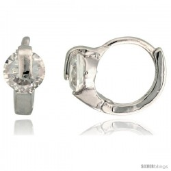 "Sterling Silver Tiny Huggie Hoop Earrings w/ Brilliant Cut CZ Stone, 3/8"" (9 mm)"
