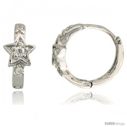 "Sterling Silver Tiny Star Huggie Hoop Earrings w/ Brilliant Cut CZ Stones, 3/8"" (10 mm)"