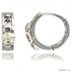 "Sterling Silver Huggie Hoop Earrings w/ Double Teeny Hearts, w/ Brilliant Cut CZ Stone, 7/16"" (11 mm)"
