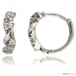 "Sterling Silver Huggie Hoop Swirl Earrings w/ Brilliant Cut CZ Stones, 7/16"" (11 mm)"