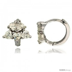 "Sterling Silver Tiny Huggie Hoop Earrings w/ Heart-shaped CZ Stone Cluster, 3/8"" (10 mm)"