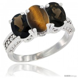 10K White Gold Natural Tiger Eye & Smoky Topaz Sides Ring 3-Stone Oval 7x5 mm Diamond Accent