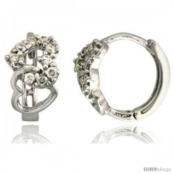 "Sterling Silver Double Heart Cut Out Huggie Hoop Earrings w/ Brilliant Cut CZ Stones, 7/16"" (11 mm)"