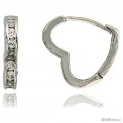 """Sterling Silver Heart-shaped Huggie Hoop Earrings w/ Brilliant Cut CZ Stones, 9/16"""" (14 mm)"""