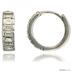"Sterling Silver Huggie Hoop Earrings w/ Emerald Cut CZ Stones, 1/2"" (13 mm)"