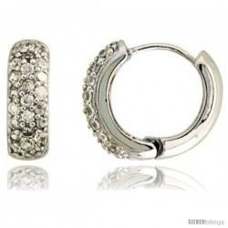 "Sterling Silver Huggie Hoop Earrings w/ Brilliant Cut CZ Stones, 9/16"" (15 mm)"