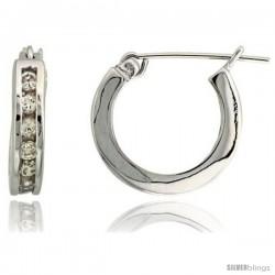 "Sterling Silver Huggie Hoop Earrings w/ Brilliant Cut CZ Stones, 9/16"" (14 mm)"