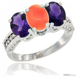 14K White Gold Natural Coral & Amethyst Ring 3-Stone 7x5 mm Oval Diamond Accent