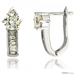 "Sterling Silver V-shaped Huggie Earrings w/ Baguette & Brilliant Cut CZ Stones, 5/8"" (16 mm) tall"