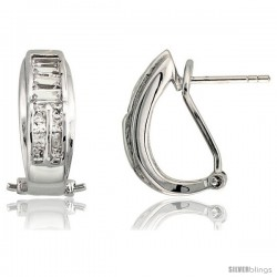 "Sterling Silver French Clip Huggie Earrings w/ Baguette & Brilliant Cut CZ Stones, 11/16"" (18 mm) tall"