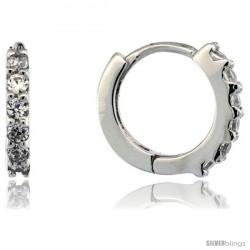 "Sterling Silver Tiny Huggie Hoop Earrings w/ Brilliant Cut CZ Stones, 1/2"" (12 mm)"