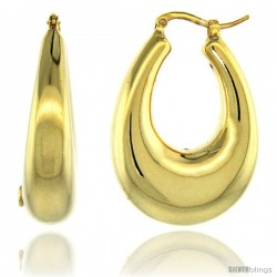 Sterling Silver Italian Puffy Hoop Earrings U-shaped with Yellow Gold Finish, 1 5/16 in. 33mm tall