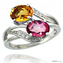 14k White Gold ( 8x6 mm ) Double Stone Engagement Pink Topaz & Citrine Ring w/ 0.07 Carat Brilliant Cut Diamonds & 2.34 Carats