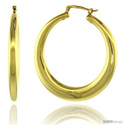 Sterling Silver Italian Large Puffy Hoop Earrings Round Shape w/ Yellow Gold Finish, 1 3/4 in. 45mm tall