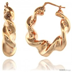 Sterling Silver Italian Puffy Hoop Earrings Twisted Design w/ Rose Gold Finish, 1 9/16 in. 39mm tall